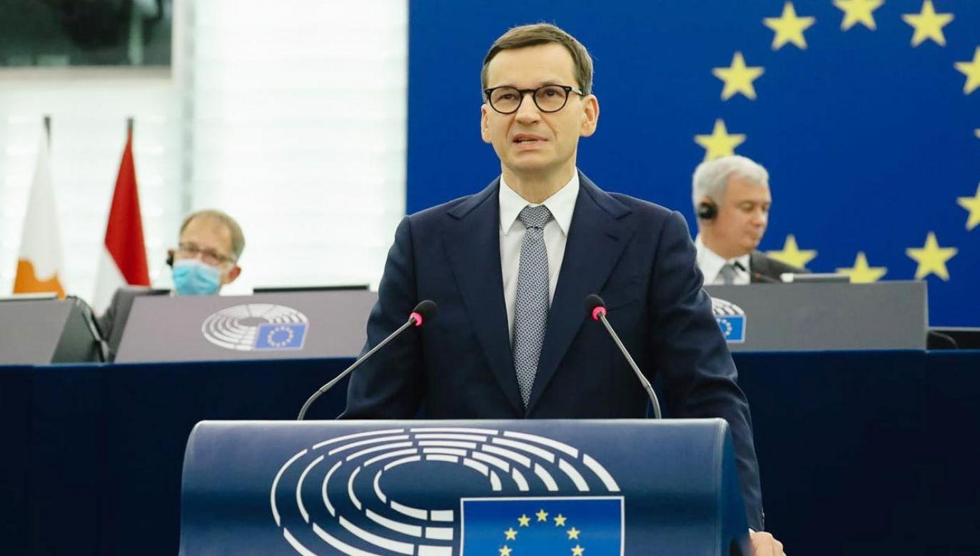 Premier Mateusz Morawiecki wystąpił na forum PE (fot. Krystian Maj/KPRM)