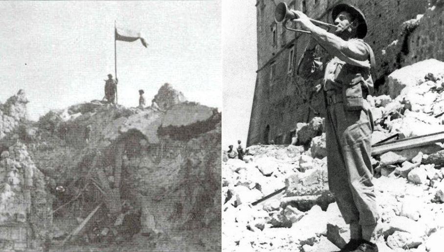 18 maja 1944 roku w południe plut. Emil Czech odegrał hejnał mariacki w ruinach klasztoru (fot. Wiki)