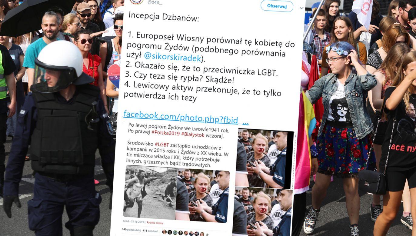 """""""Osoba ta jest kontrmanifestantką, partnerką jednego z najbardziej agresywnych faszolskich bandytów"""" (fot. PAP/Artur Reszko/tt/@d48__)"""