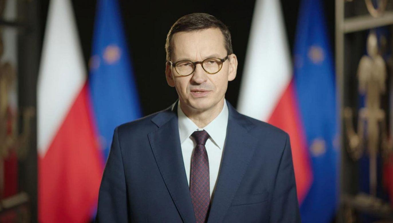 Premier mówił w piątek m.in. o nowych zasadach bezpieczeństwa wprowadzonych w Polsce z powodu pandemii koronawirusa(fot. KPRM)