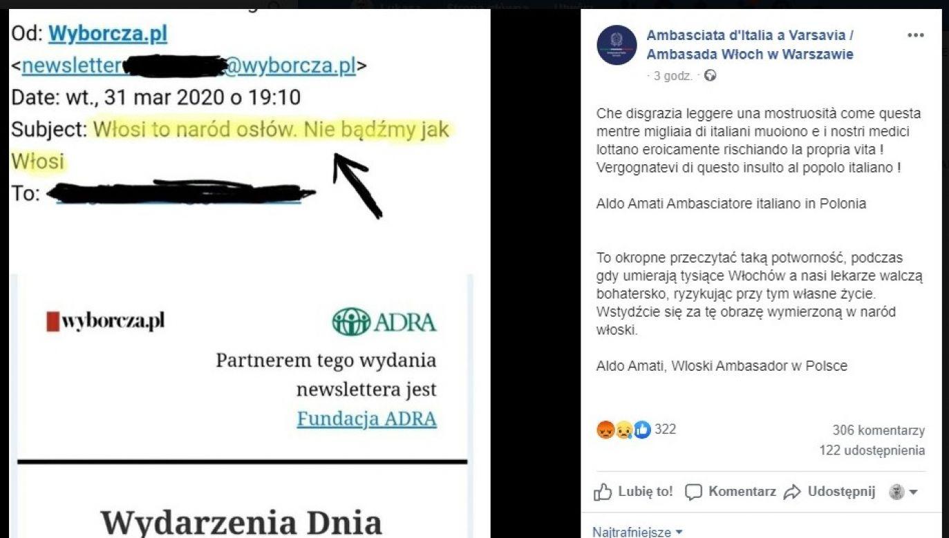 Publikacja oburzyła włoskiego ambasadora oraz internautów (fot. FB)