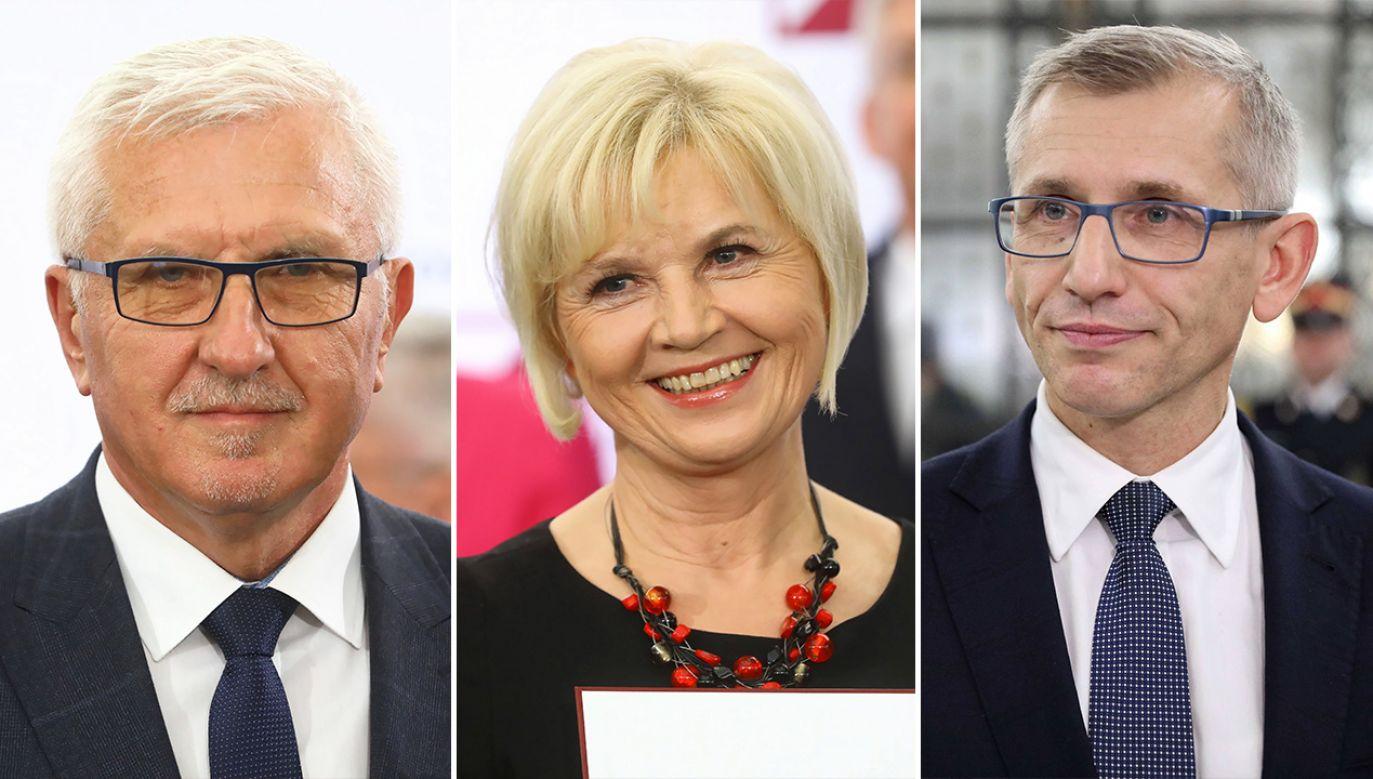 Wadim Tyszkiewicz, Lidia Staroń i Krzysztof Kwiatkowski tworzą koło senatorów niezależnych. (fot. arch. PAP/Rafał Guz, Leszek Szymański)