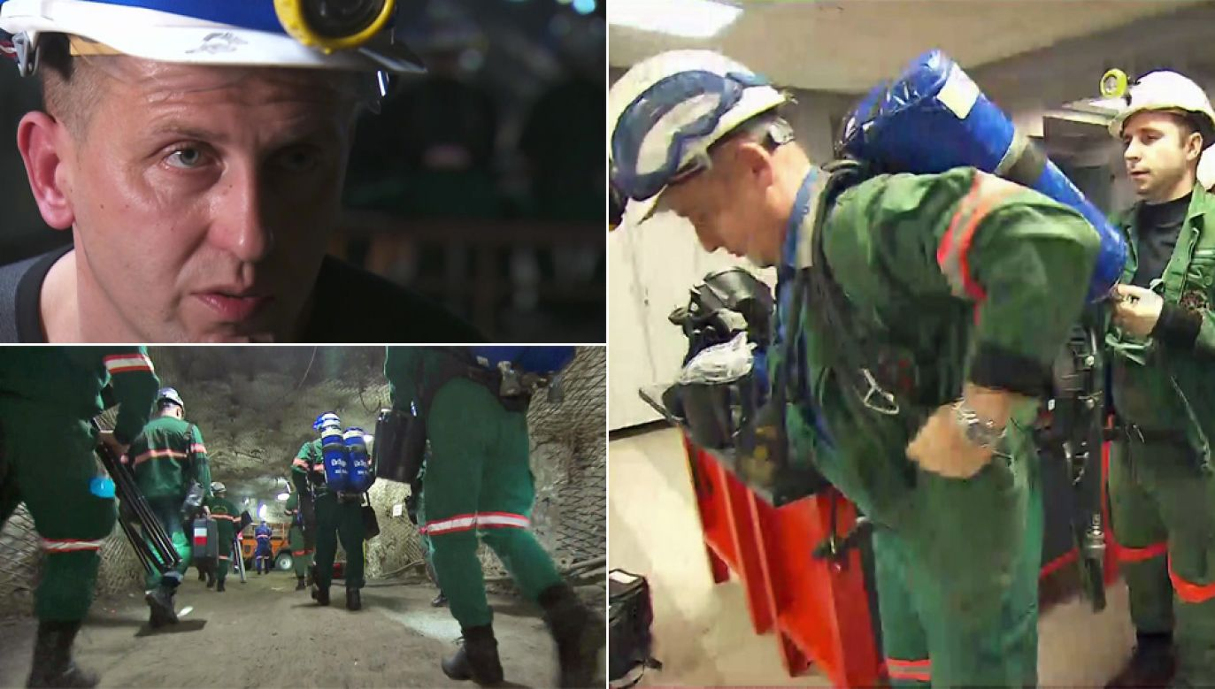 Ratownicy górniczy pracują w ekstremalnych warunkach (fot. TVP1)