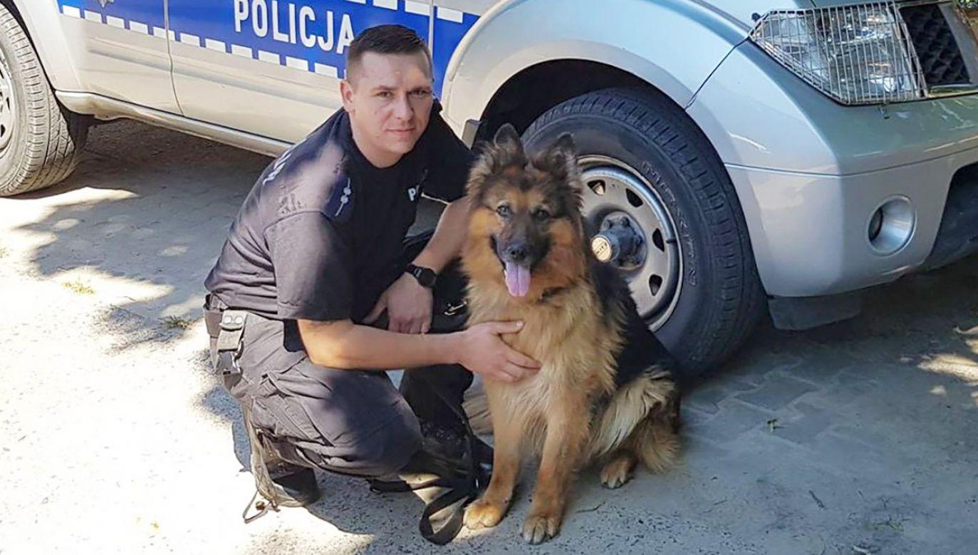 Na miejsce zdarzenia udał się funkcjonariusz z psem tropiącym (fot. wielkopolska.policja.gov.pl)