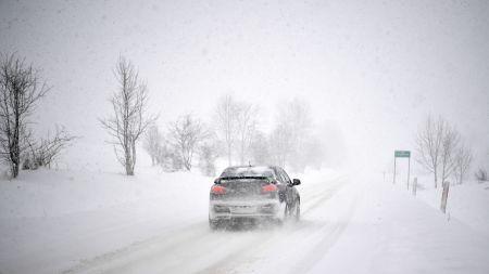 Intensywne opady śniegu w miejscowości Liskowate na Podkarpaciu (fot. PAP/Darek Delmanowicz)