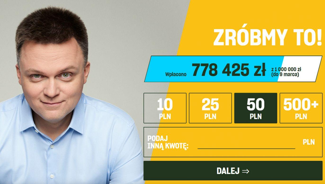 """Szymon Hołownia liczy, że """"zbiórka obywatelska"""" zapewni mu 5-10 mln zł na prowadzenie kampanii (fot. wspieraj.holownia2020.pl)"""