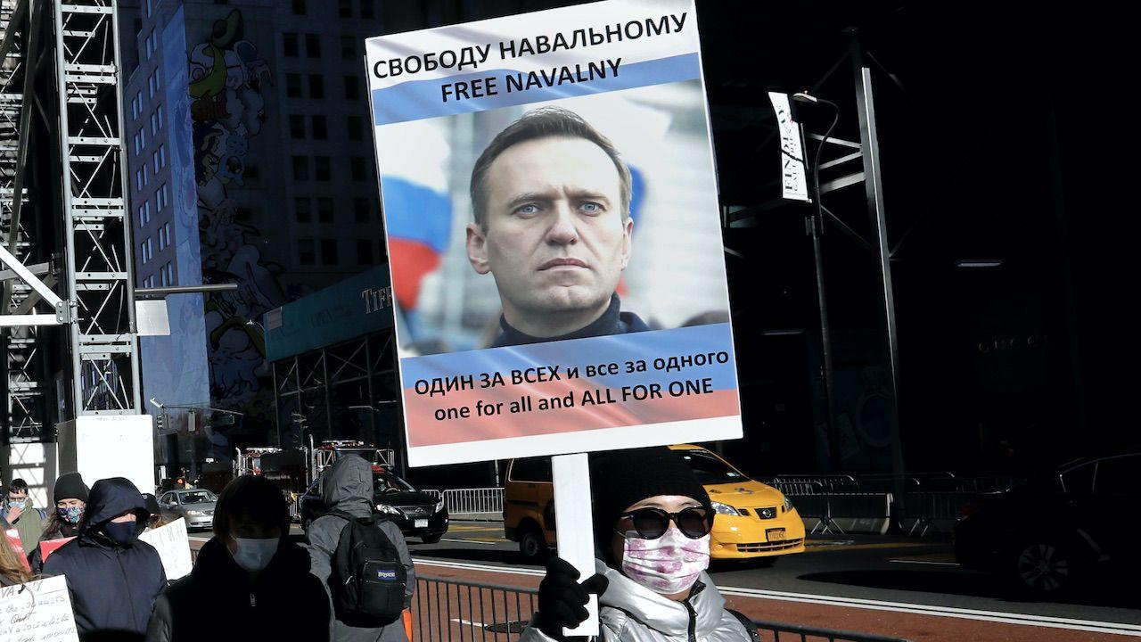 """""""Ukraina popiera apele o uwolnienie Nawalnego"""" (fot. PAP/EPA/P.Foley)"""
