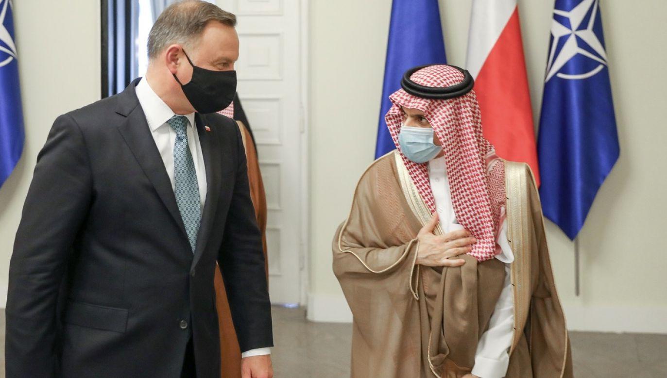 Prezydent RP Andrzej Duda przyjął szefa saudyjskiej dyplomacji księcia Faisala Bin Farhana Al Sauda (fot. Jakub Szymczuk/KPRP)