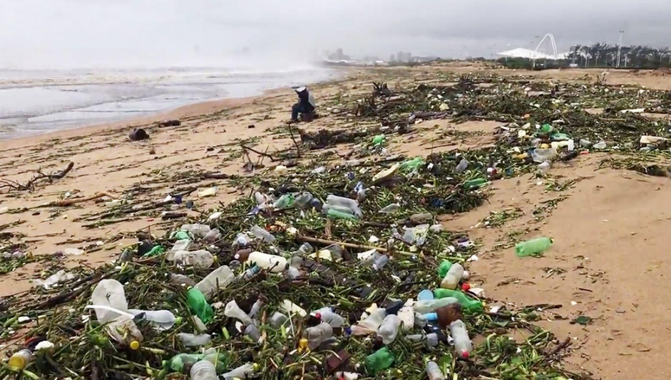 Plastikowe śmieci zatrzymały się przy plaży (fot. Reuters/Mike Frew)