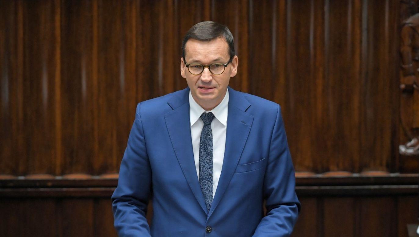 Premier Morawiecki zabrał głos w Sejmie na temat wydarzeń na Białorusi (fot.  PAP/Radek Pietruszka)