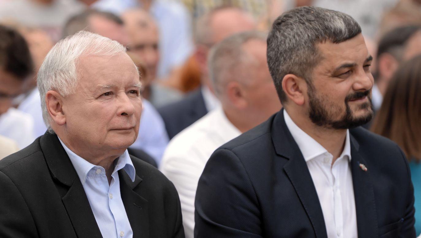 Jarosław Kaczyński i Krzysztof Sobolewski (fot. PAP/Darek Delmanowicz)