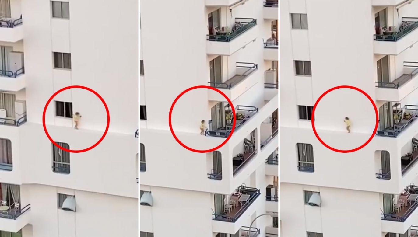 Malutkie dziecko spacerowało kilkanaście metrów nad ziemią po fragmencie elewacji (fot. Facebook/I Love Tenerife)