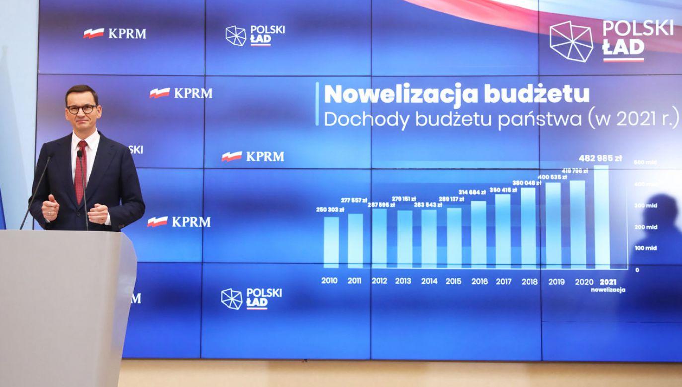 Konferencja premiera Mateusza Morawieckiego (fot. PAP/Wojciech Olkuśnik)