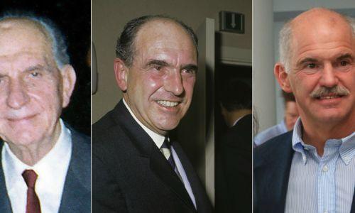 W rodzinie Papandreu urząd premiera przechodził z ojca na syna (od lewej): od Jeorjosa (trzykrotny premier Grecji: 1944–45, 1963 i 1964–65), przez jego syna Andreasa (założyciel socjalistycznego PASOK, dwukrotny premier: 1981–89 i 1993–96), po wnuka Jeorjosa (b. szef PASOK, dwukrotny minister edukacji i spraw zagranicznych oraz premier w 2009–11). Fot. Wikimedia Commons: Πνευματικό Ίδρυμα Γεωργίου Α. Παπανδρέου, CC BY-SA 3.0/Eric Koch/ Anefo - Nationaal Archief/karpidis from Piraeus, Greece, CC BY 2.0