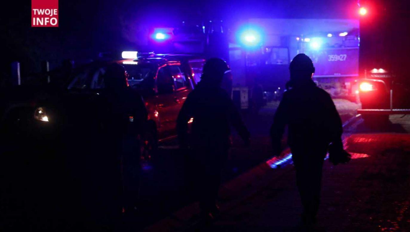 Na miejscu pracowała także grupa chemiczna straży pożarnej (fot. PAP/Grzegorz Momot)