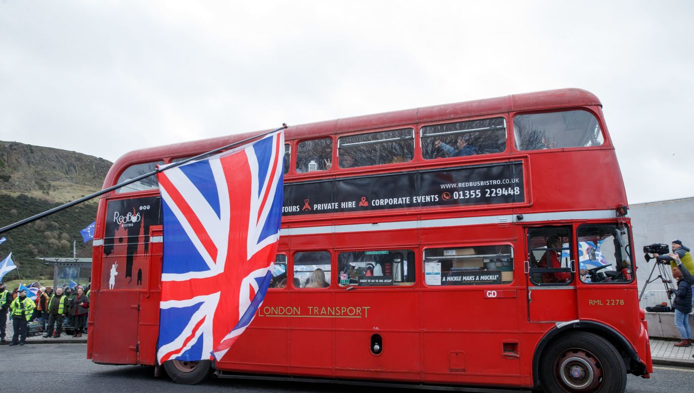 Brexit transition period will be smooth for Poles. London Routemaster bus photographed at a demonstration in Edinburgh . Photo: EPA/PAP/ROBERT PERRY
