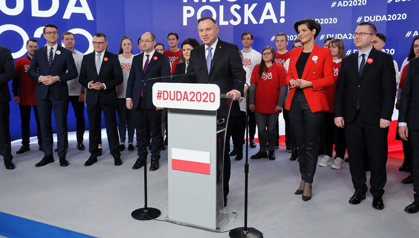 Prezentacja składu sztabu wyborczego prezydenta Andrzeja Dudy (fot. PAP/Paweł Supernak)