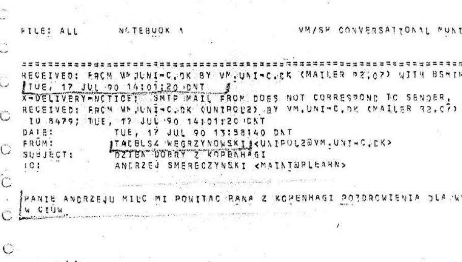 Treść pierwszego polskiego maila (fot. kalendarium.icm.edu.pl)