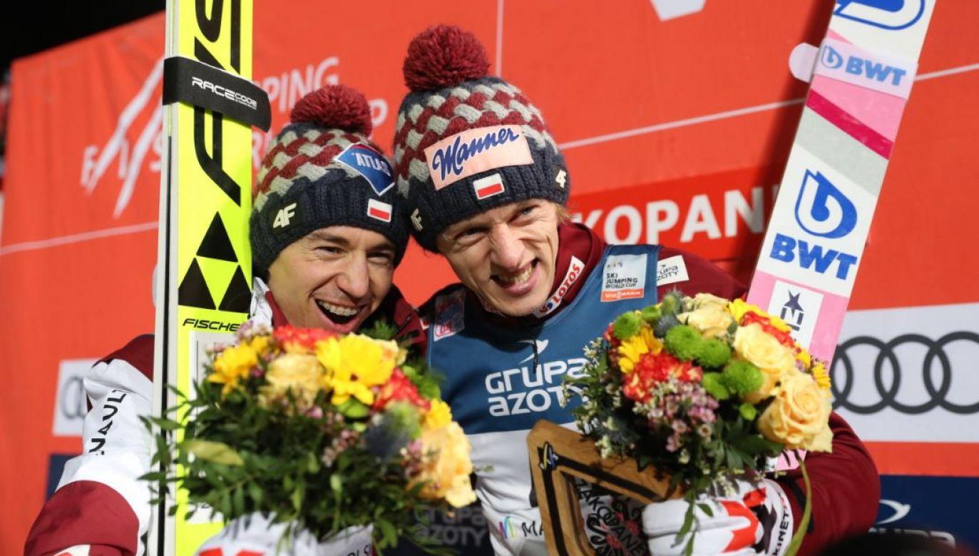 Polak Kamil Stoch podczas konkursu indywidualnego zawodów Pucharu Świata w skokach narciarskich w Zakopanem (fot. PAP/Grzegorz Momot)