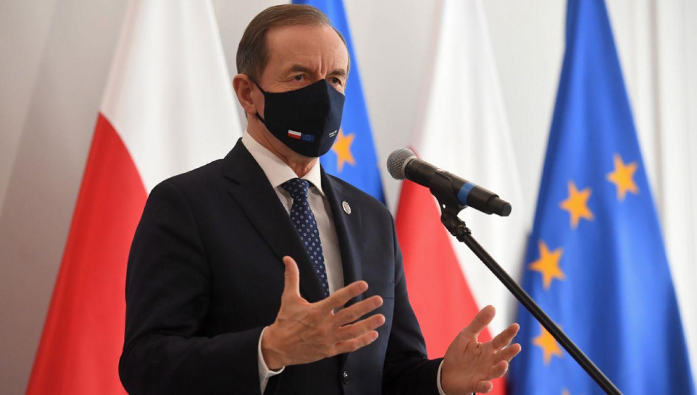 Marszałek Senatu Tomasz Grodzki wygłosi orędzie (fot. PAP/Piotr Nowak)