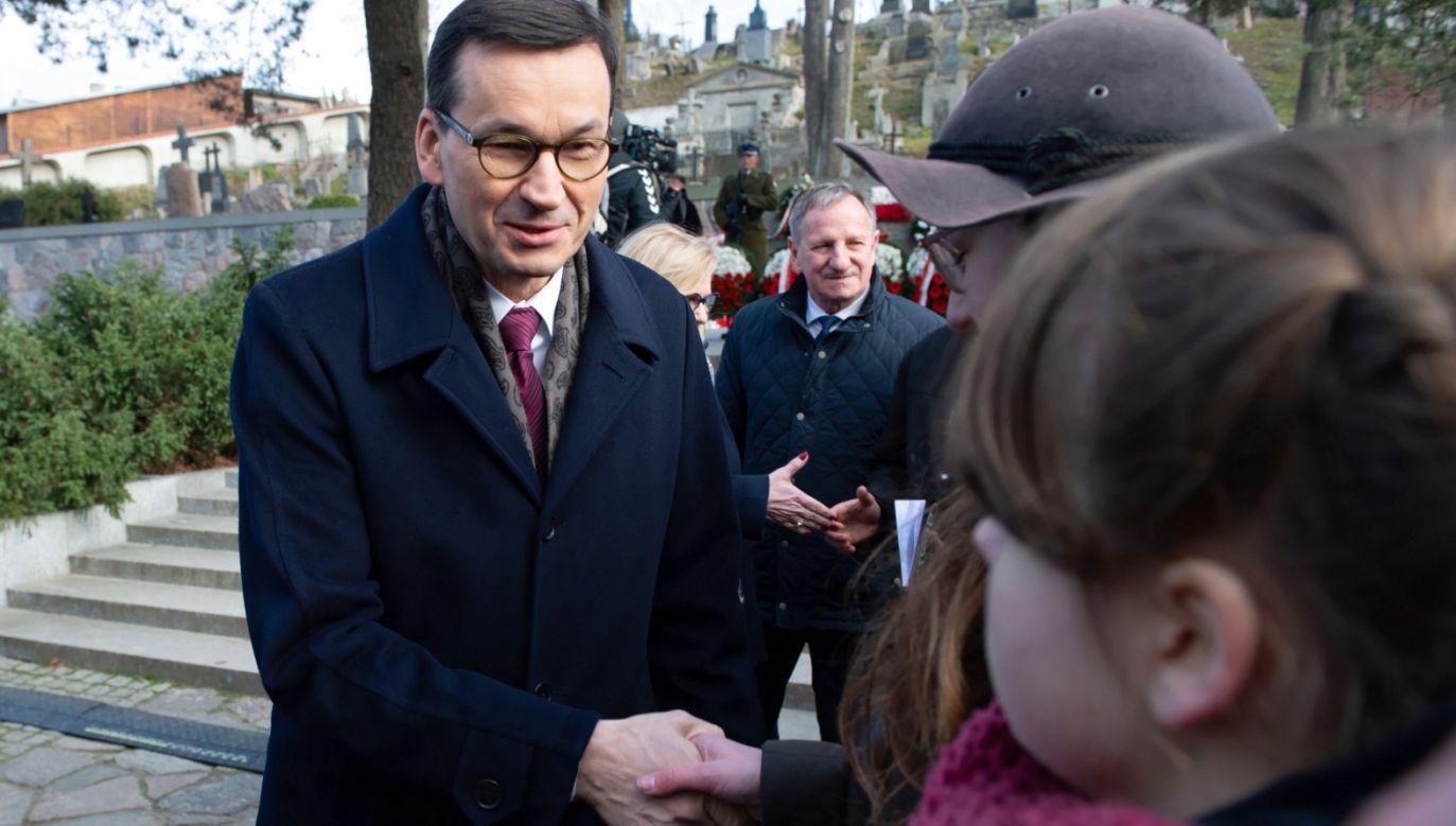Powstańcy styczniowi są bohaterami, którzy łączą narody Polski i Litwy i są wciąż żywi z naszych sercach – mówił premier Mateusz Morawiecki w Wilnie (fot. PAP/Valdemar Doveiko)