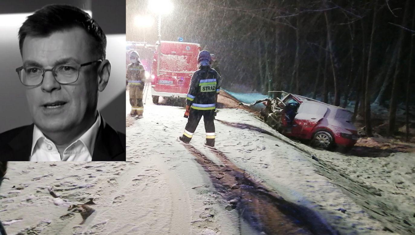 Piotr Świąc miał 54 lata (fot. PAP/Straż Pożarna; TVP)