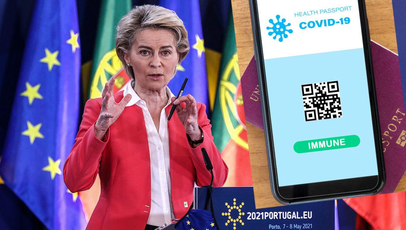 Ursula von der Leyen zapowiedziała wprowadzenie paszportu szczepionkowych (fot. PAP/EPA; Shutterstock)