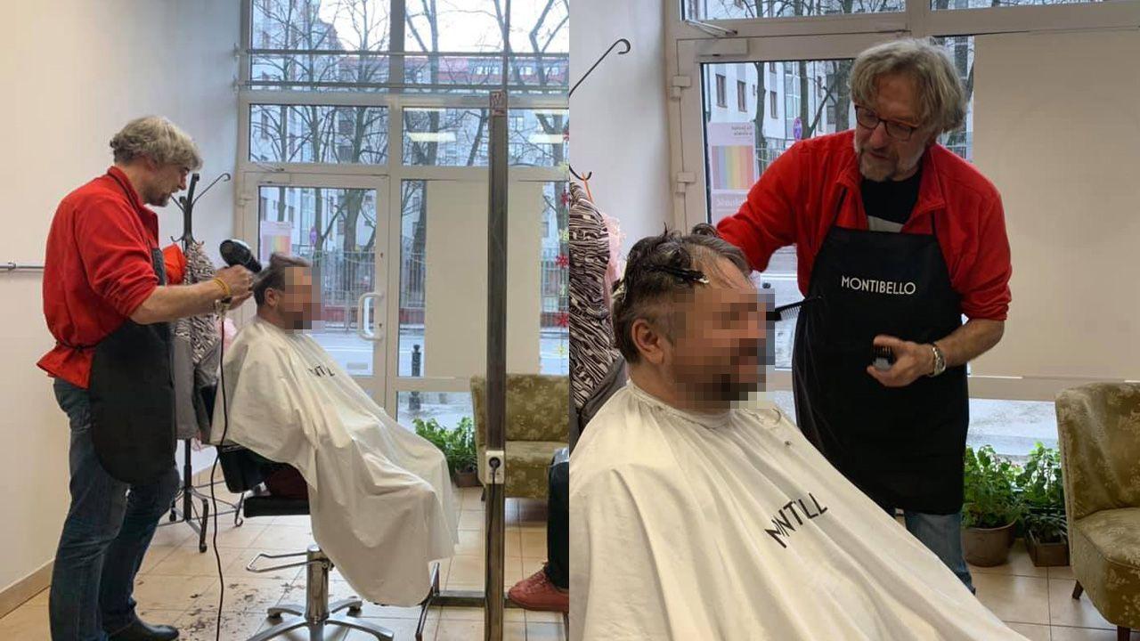 Mateusz Kijowski obcina włosy, suszy, modeluje, a ponoć nawet nakłada farbę (fot. Facebook)