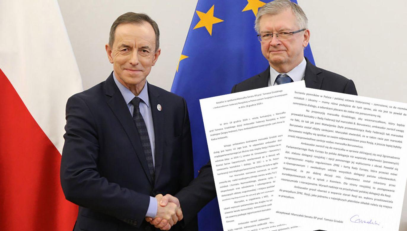Do spotkania marszałka Senatu Tomasza Grodzkiego z ambasadorem Siergiejem Andriejewem doszło 19 grudnia (fot. tt/@PolskiSenat)