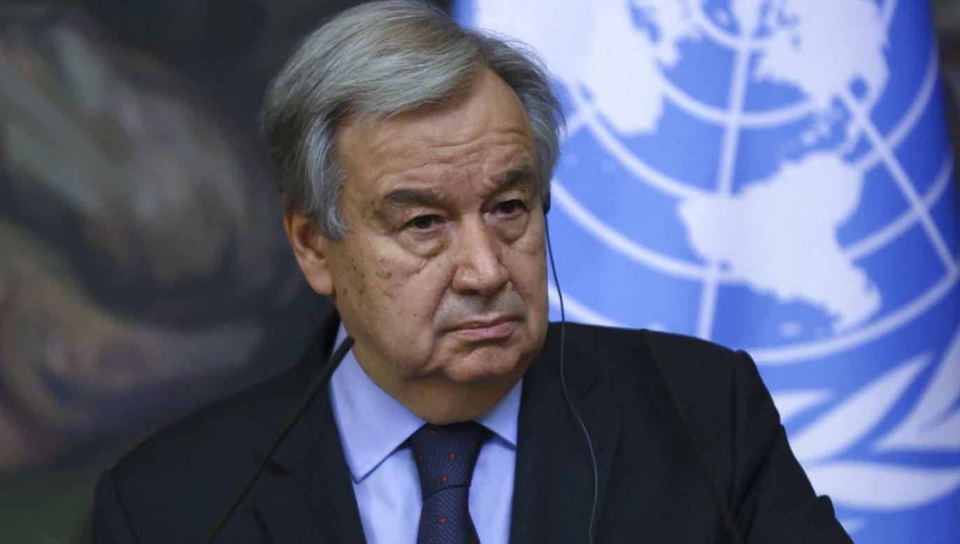 Sekretarz Generalny ONZ Antonio Gutteres (fot. Russian Foreign Ministry Press Office / Handout/Anadolu Agency via Getty Images)