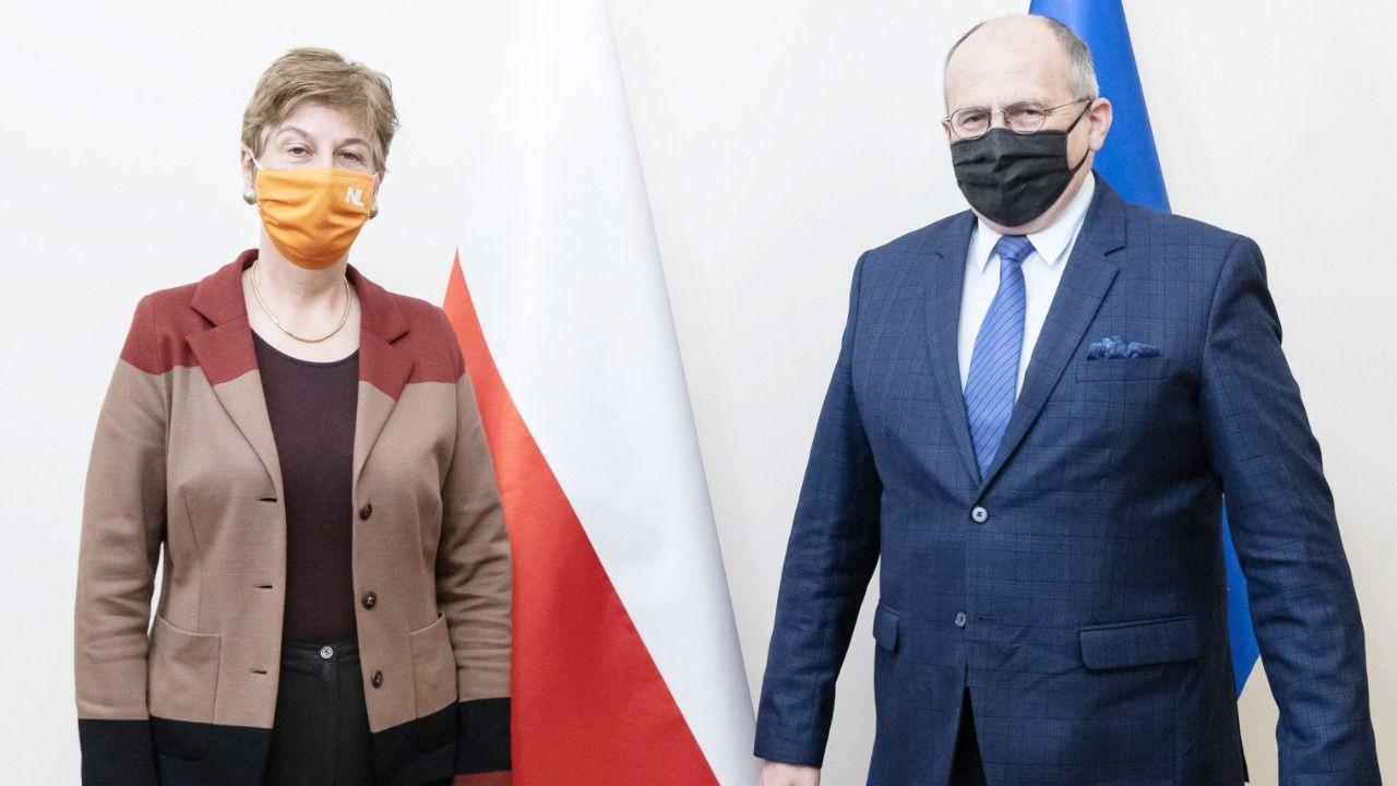 Ambasador Niderlandów Daphne Bergsma i szef polskiego MSZ Zbigniew Rau (fot.Tymon Markowski/MSZ)
