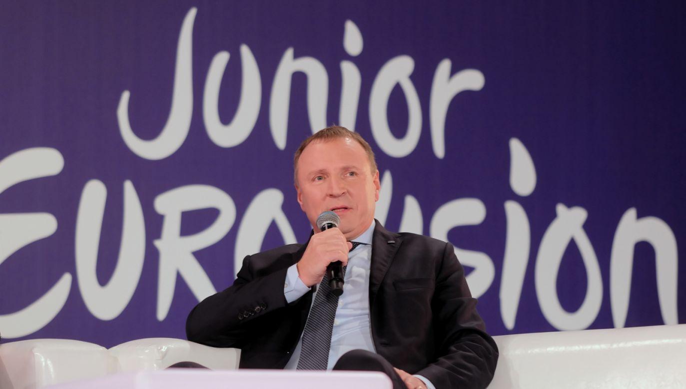 – Być może to właśnie w Gliwicach rozbłyśnie talent następców Céline Dion czy ABBY – mówi w spocie prezes TVP Jacek Kurski (fot. PAP/Andrzej Grygiel)