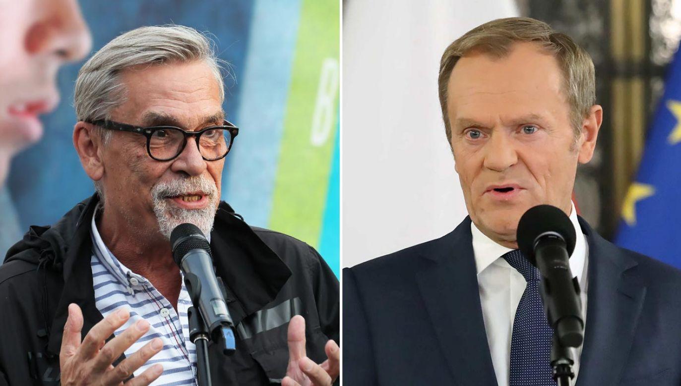 Jacek Żakowski, Donald Tusk (fot. PAP/Paweł Supernak, Tomasz Gzell)