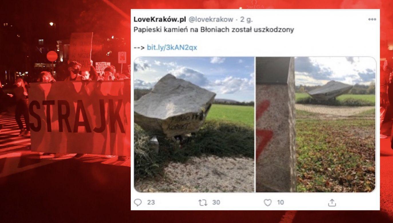 Kamień papieski to 26-tonowy głaz granitu sprowadzony znad Morskiego Oka w 1997 r., w 19. rocznicę inauguracji pontyfikatu Jana Pawła II (fot. tt/@lovekrakow, PAP/Radek Pietruszka)