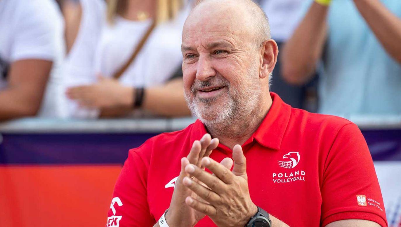 W tym roku uśmiech nie schodził z twarzy prezesa Polskiego Związku Piłki Siatkowej Jacka Kasprzyka (fot. arch. PAP/Tytus Żmijewski)