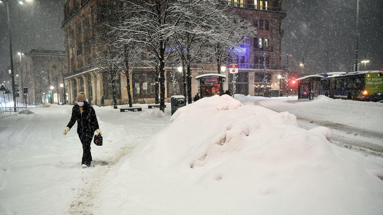 Potężna zima w Szwecji (fot. PAP/EPA/Henrik Montgomery)