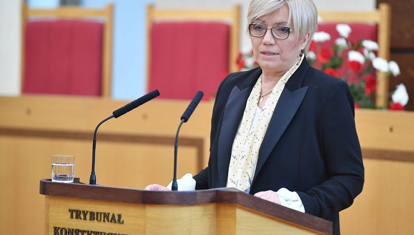 – To naruszenie trójpodziału władzy – mówi Julia Przyłębska (fot. PAP/Bartłomiej Zborowski)