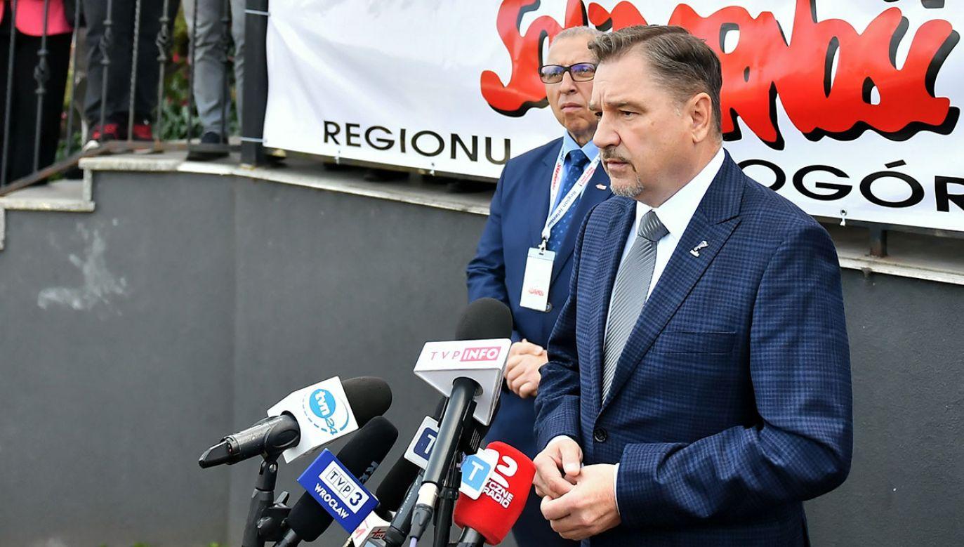 Przewodniczący Solidarności Piotr Duda (fot. PAP/M.Kulczyński)