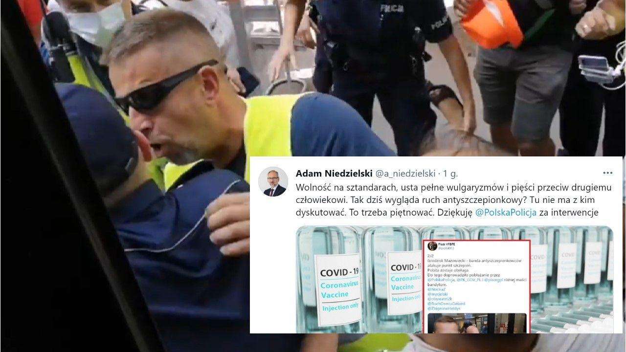 Minister zdrowia podziękował Policji Polskiej za interwencję w Grodzisku Mazowieckim (fot. Facebook/MediaInfoTvPL / Twitter/@a_niedzielski)