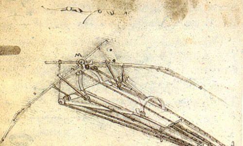 Szkic latającej maszyny. Fot. Wikimedia