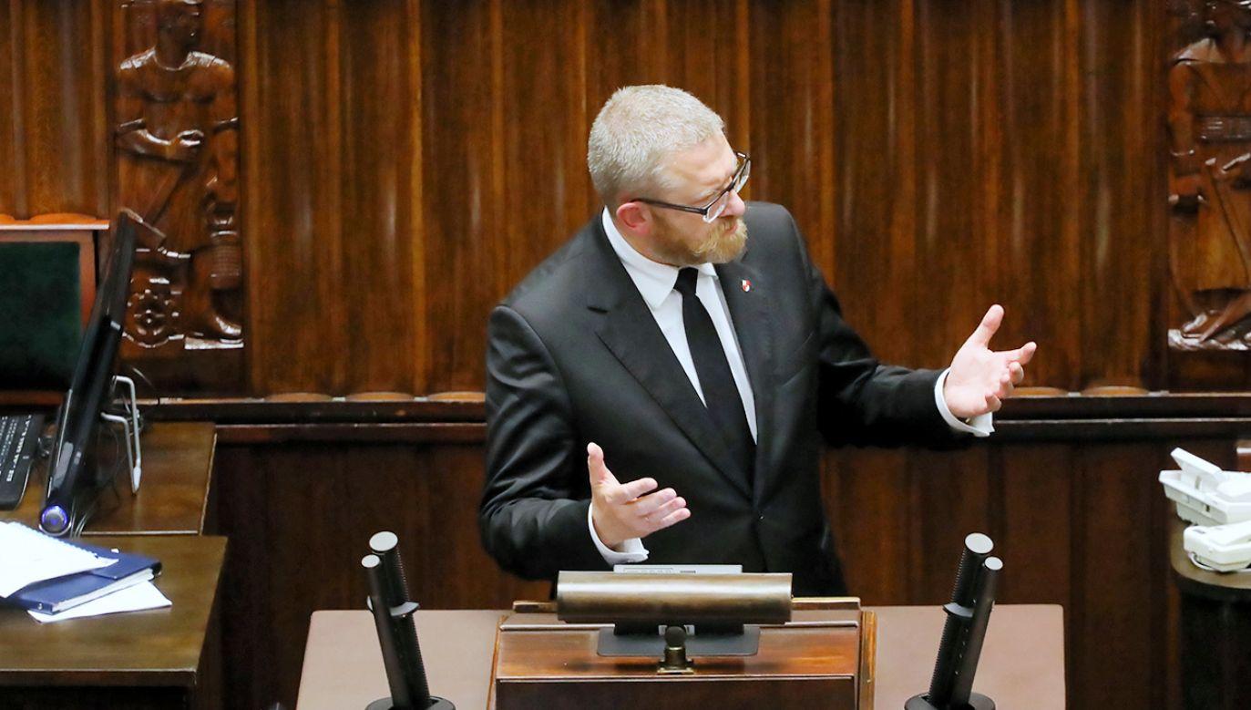 Poseł Grzegorz Braun (fot. PAP/Albert Zawada)